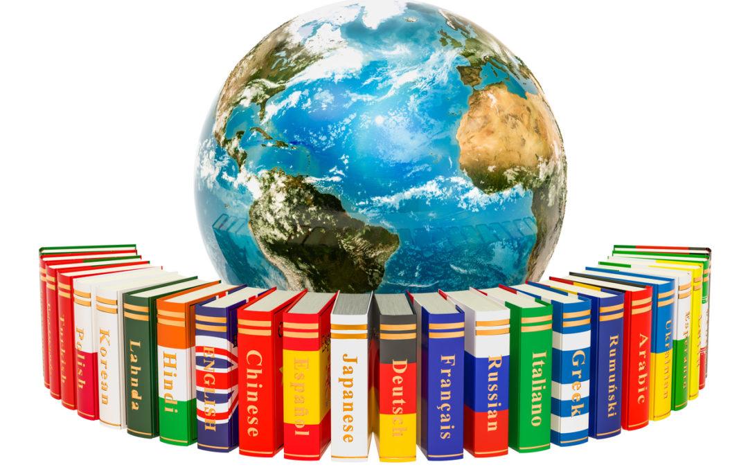 language books around globe