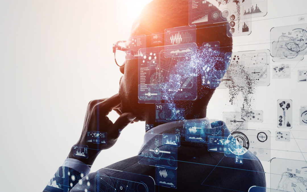 artificial intelligence with man in thought